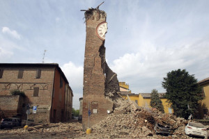 The old tower is seen collapsed after an earthquake in Finale Emilia